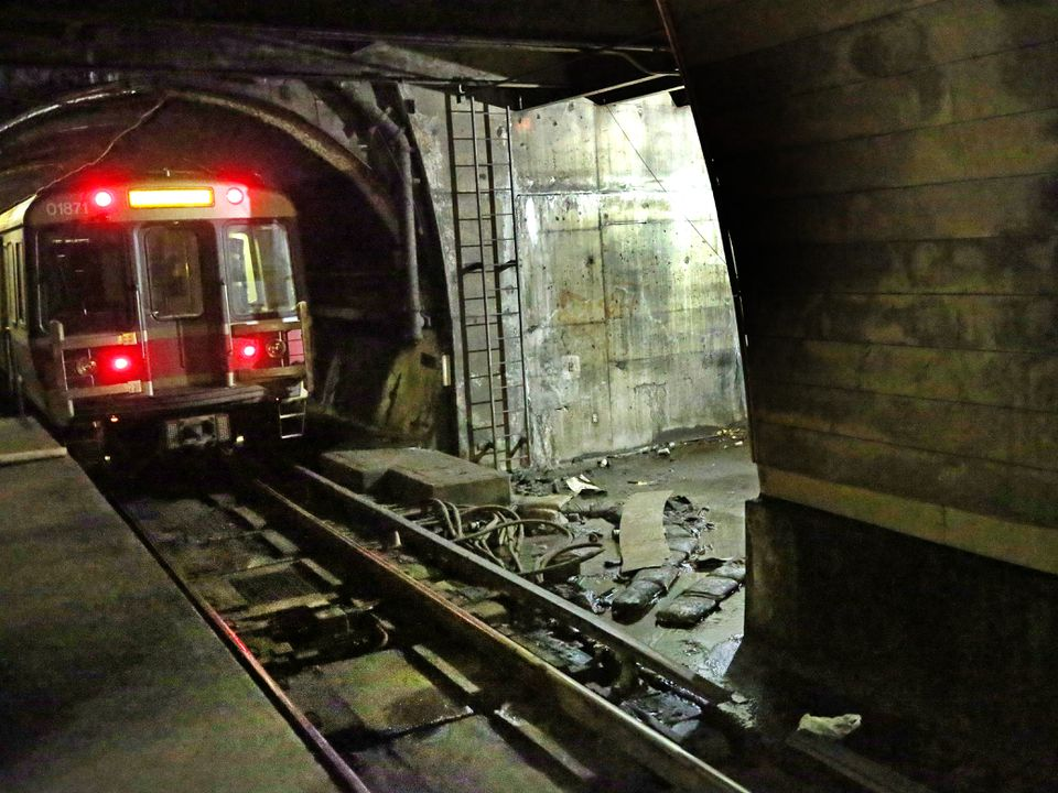 The ceilings at the commuter and Red Line stops in Porter Square leak during rainstorms, forming small puddles on the platforms below.