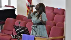Marshalee Ellis-Kehlhem sang during a recent Sunday service held remotely from The Greater Framingham Community Church.