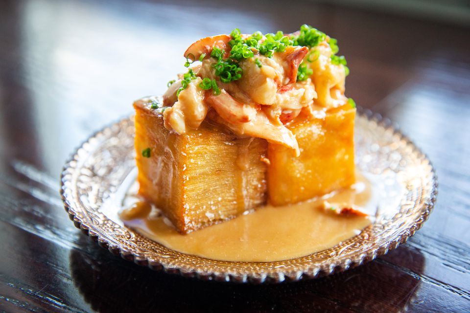 Crispy potato mille feuille with lobster and gravy at Fool's Errand.