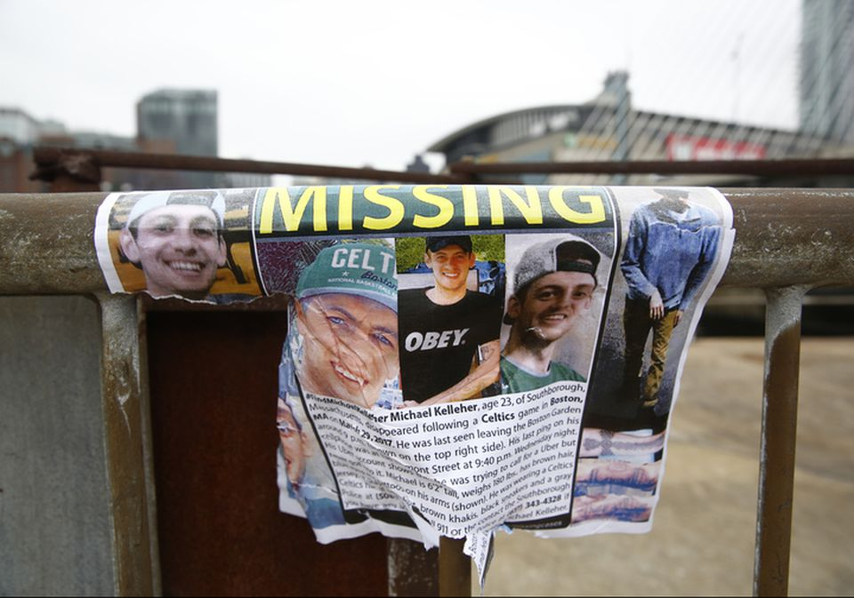 A flier featuring photos of Michael Kelleher, who had been missing since March.