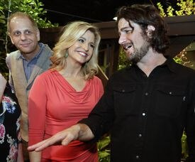 From left: Karson from Mix 104.1, WBZ-TV's Paula Ebben, and Matt Nathanson at the Boston Flower & Garden Show Preview Party.