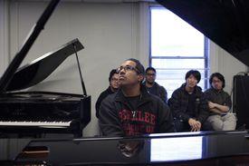 Perez in his Berklee classroom.