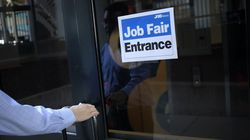 A job seeker arrives at a Job News USA career fair in Louisville, Kentucky.