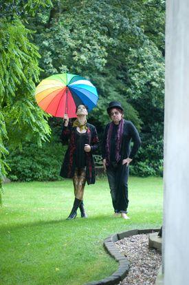 "Amanda Palmer with Edward Ka-Spel, her collaborator on ""I Can Spin a Rainbow."""