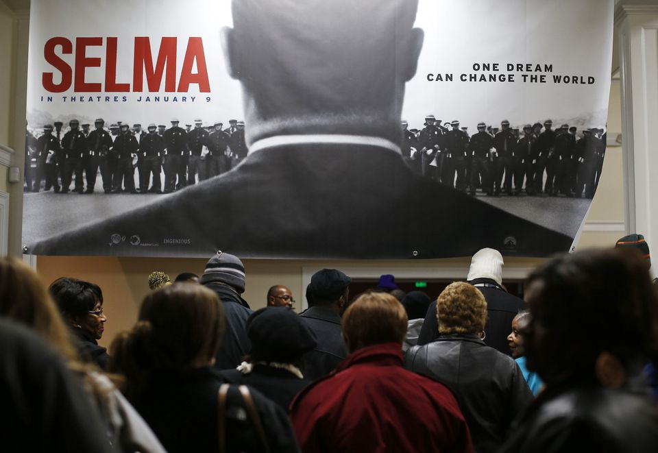 "Audience members lined up for a Jan. 9 screening of the movie ""Selma"" at a theater in Selma, Ala."
