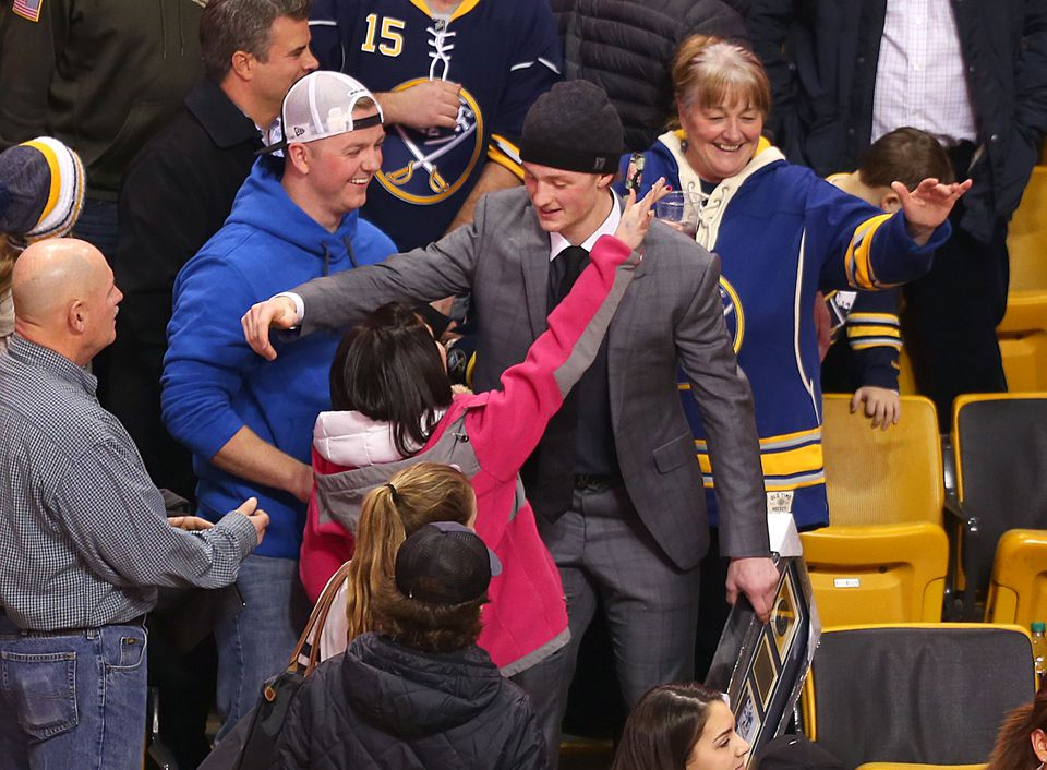 Buffalo's Jack Eichel greeted friends and fans in the TD Garden stands who waited for him after the Sabres beat the Bruins, 6-3, on Saturday night.