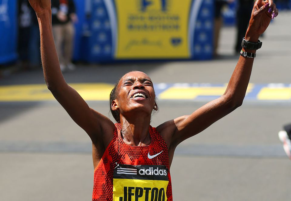 Rita Jeptoo crossed the finish line last April for her second straight Boston win.