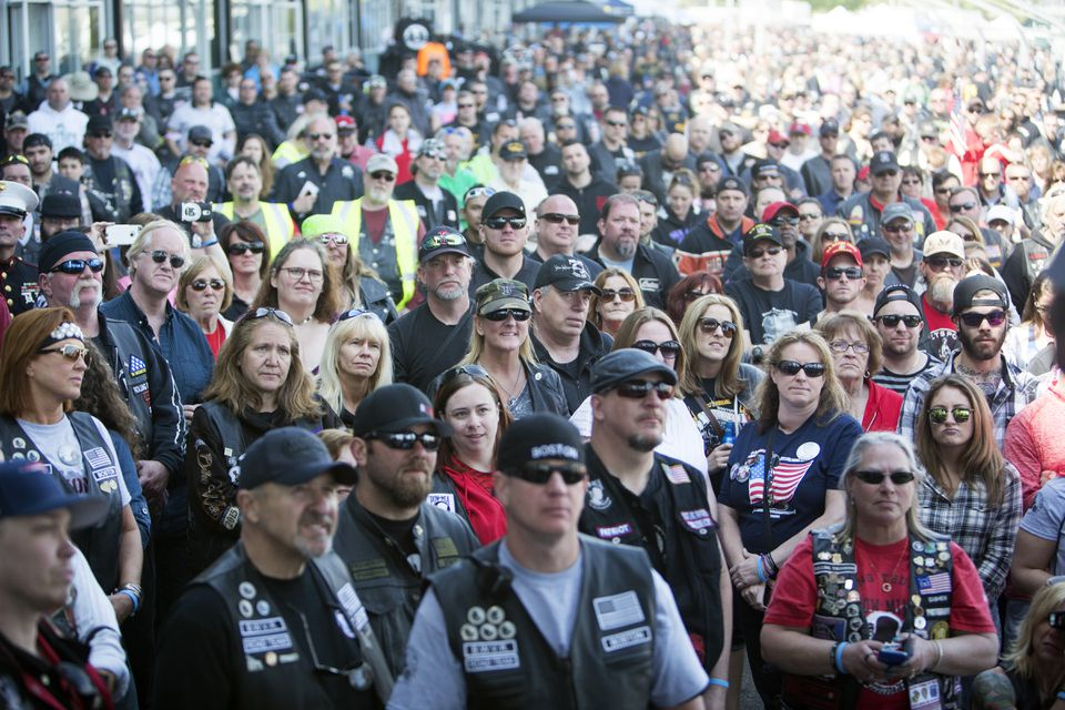 Riders at the fifth annual Boston's Wounded Vet Run listened to the honorees' stories.