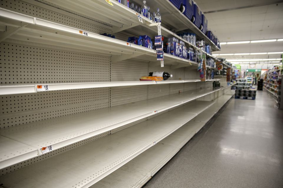 Some shelves at a Stop & Shop in Malden were empty on Friday.