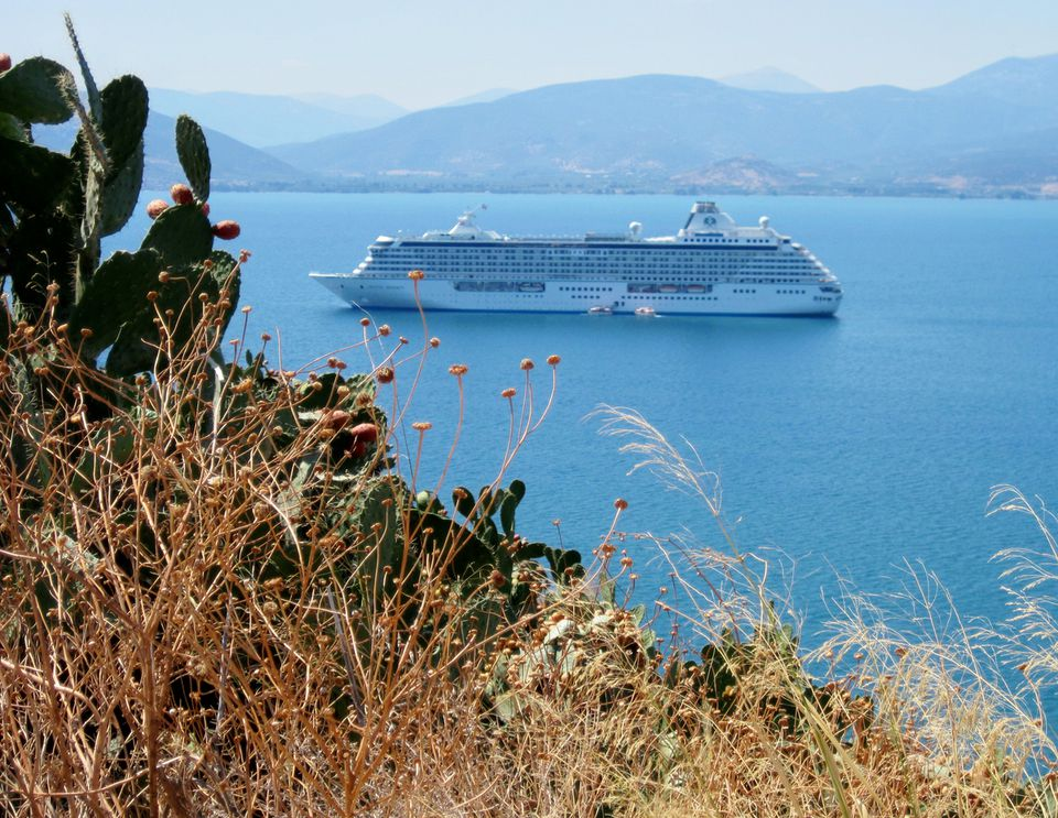 The Crystal Serenity lying off the port of Navplion, Greece.