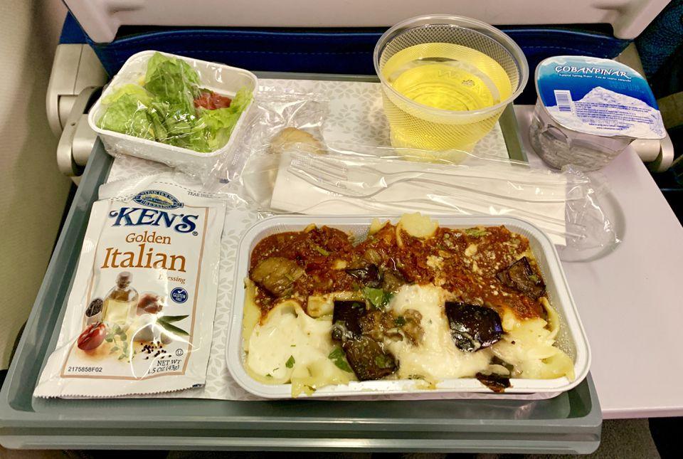 Pasta dinner served on Hawaiian Airlines Flight 89 from Boston to Honolulu.