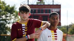 As first-time teammates at Cardinal Spellman, Alex Kuzmich (left) and Melvin Alves have figured in 63 of the Cardinals' 67 goals this season.