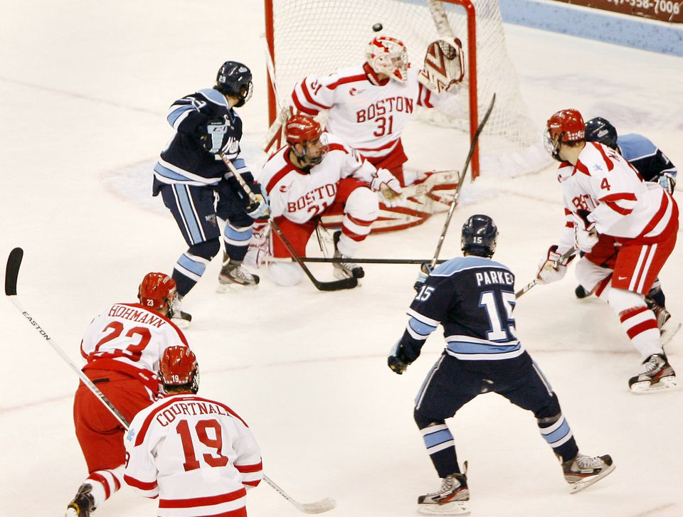Freshman right wing John Parker beats BU goalie Kieran Millan with 6.9 seconds left in the first period to give Maine a 1-0 lead.