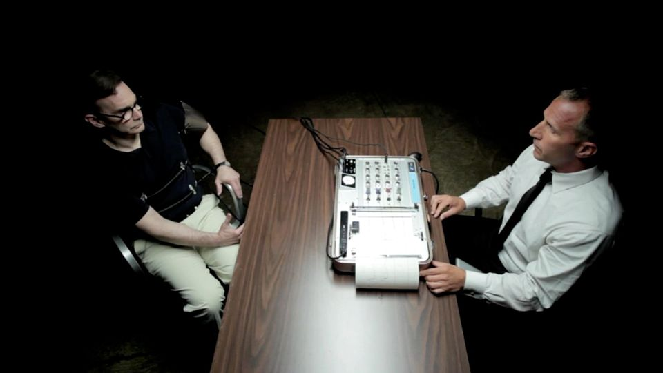 A still shot of an ad for Legal Sea Foods has chief executive Roger Berkowitz strapped to a lie detector.