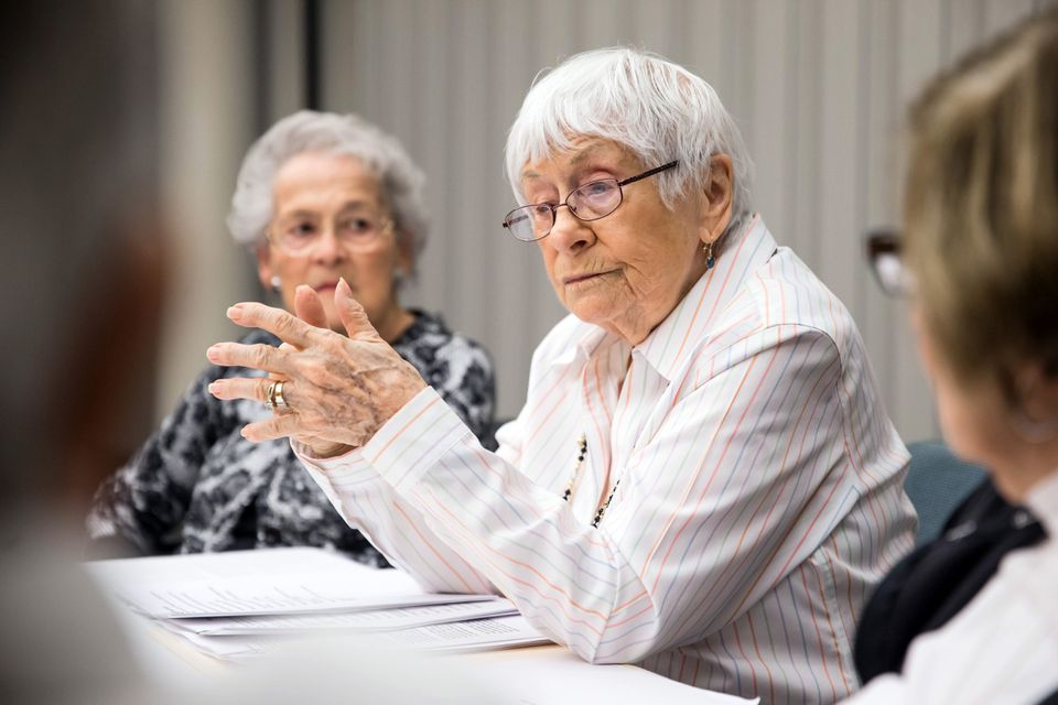 Esther Adler, 93, teaches a Jewish culture class at Orchard Cove in Canton