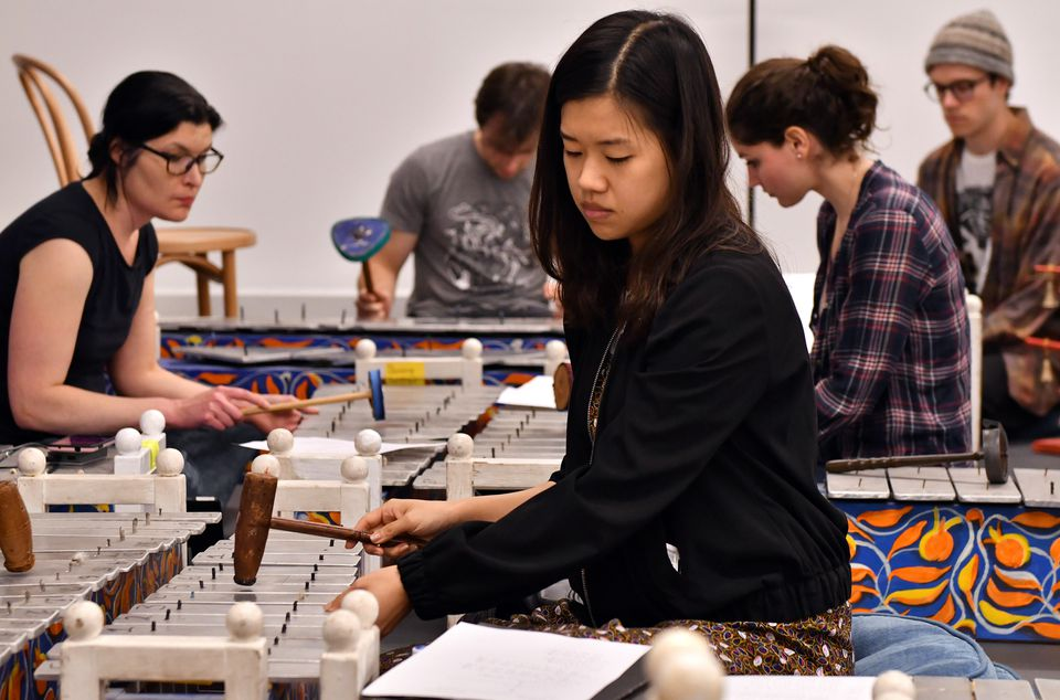 Soyeon Shin and fellow musicians in a rehearsal space at MIT.