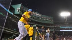 Boston Red Sox starting pitcher Chris Sale emerges from the dugout at Fenway Park on Sept. 17 for his start against the Baltimore Orioles, his first since coming off the COVID injured list. Sale disclosed that he is not vaccinated against the coronavirus.