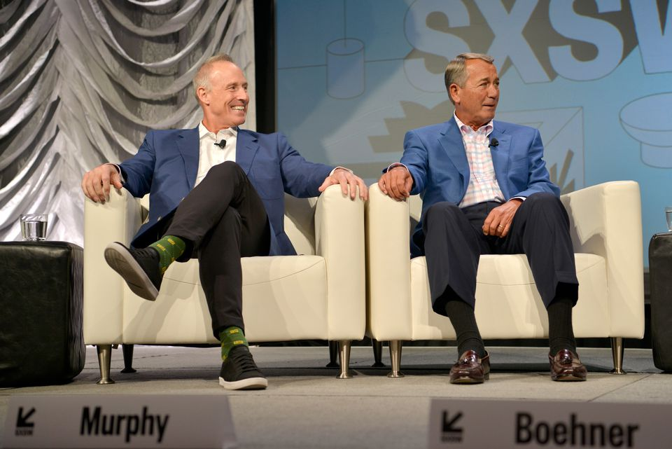 Acreage's chief executive Kevin Murphy (left) and former US House speaker John Boehner, who was appointed to the Acreage board, shared a stage during the 2019 SXSW Conference and Festivals in Austin this month.