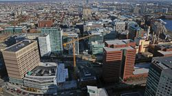 An aerial view of Kendall Square in Cambridge.