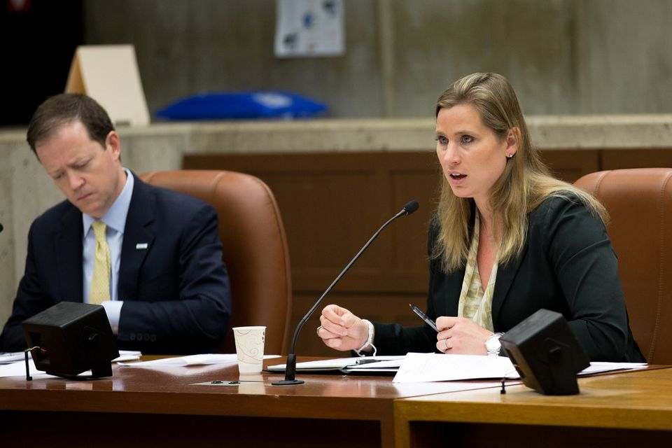 Angela Ruggiero, a member of the US Olympic Committee and the International Olympic Committee, spoke at a hearing on Boston's 2024 Olympic bid at City Hall on Monday