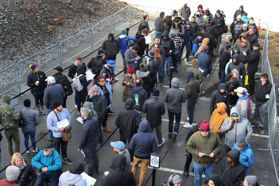 Most customers on Saturday morning reported waiting in line for about an hour at New England Treatment Access, which began recreational marijuana sales that day.