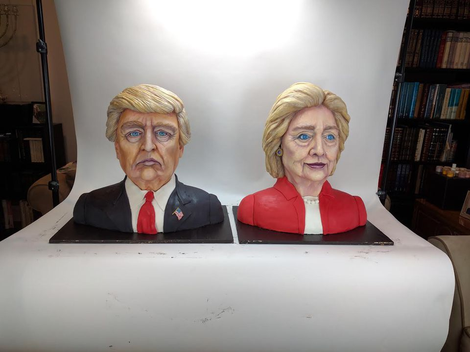 Melissa Alt, a 24-year-old from New Jersey, made cakes of Donald Trump and Hillary Clinton for election night.