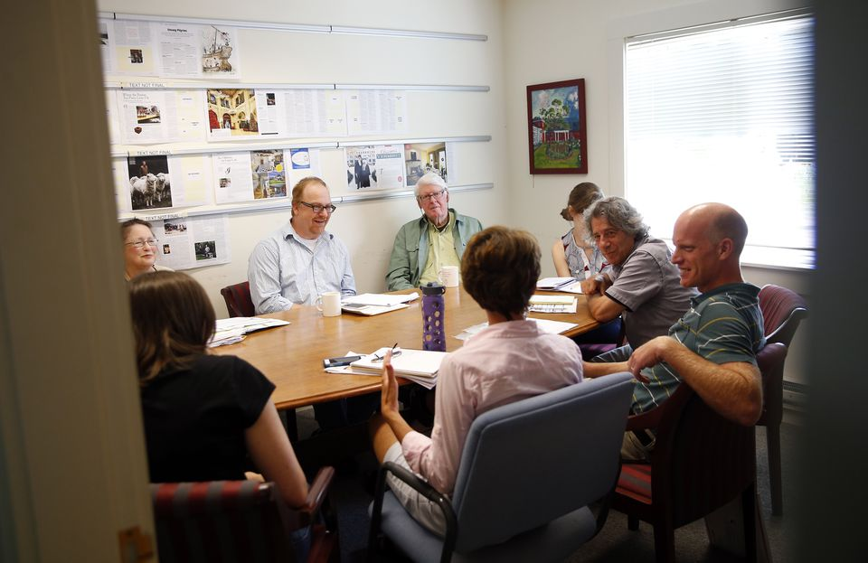 Editors gathered around a table during an editorial meeting at Yankee magazine in Dublin, N.H., last week.