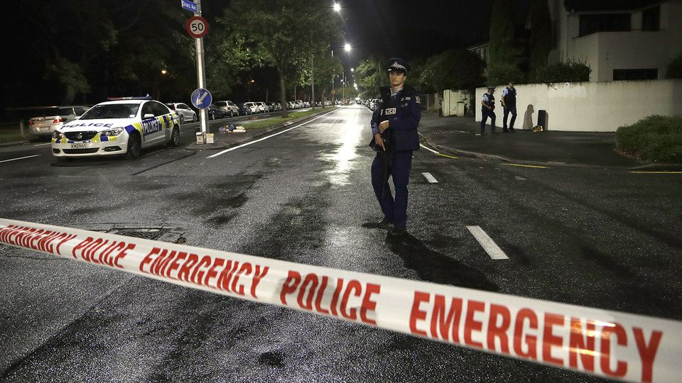 A police officer walked past a cordon near a mosque in central Christchurch, New Zealand.