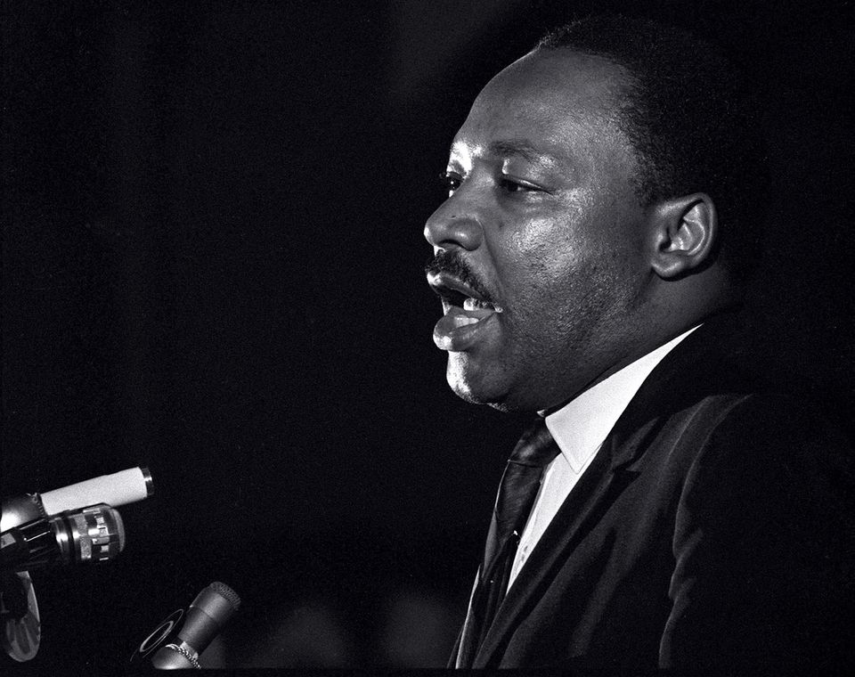 Martin Luther King Jr. during his last public appearance at the Mason Temple in Memphis, Tenn., on April 3, 1968. The following day King was assassinated on his motel balcony.