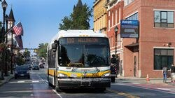 The 110 MBTA bus is pictured on Broadway in Everett in this July 2020 file photo.