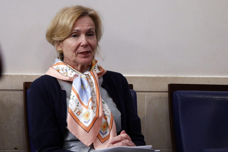 Dr. Deborah Birx listens as President Trump speaks about the coronavirus at the White House on April 23.