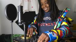 DJ WhySham was photographed in the studio while she worked on new music. The artist has been using TikTok to promote other Black women hip-hop artists from Boston.