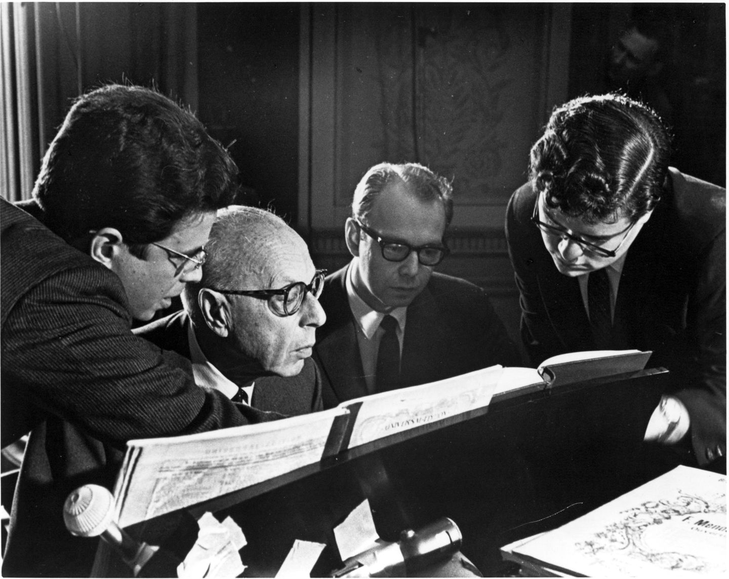 Cleveland Orchestra conductor George Szell (second from left) with Cleveland Orchestra associates (left to right) Stephen Portman, Michael Charry, and James Levine in 1966.