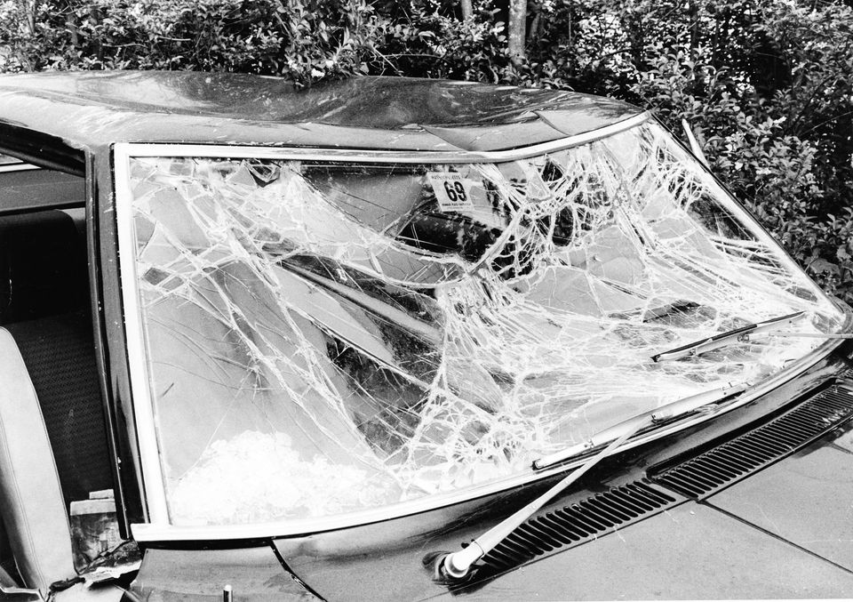 Senator Edward Kennedy's car windshield after the accident on July 19, 1969.