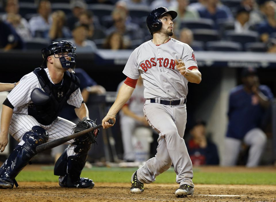 Yankees catcher Brian McCann watched as Blake Swihart follows through on a two-run homer in the eighth inning.