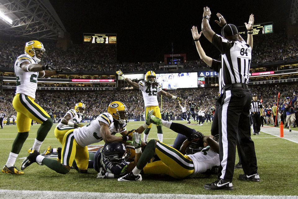 Seahawks wide receiver Golden Tate was ruled to have pulled in a game-winning touchdown pass from quarterback Russell Wilson against  the Packers this week.
