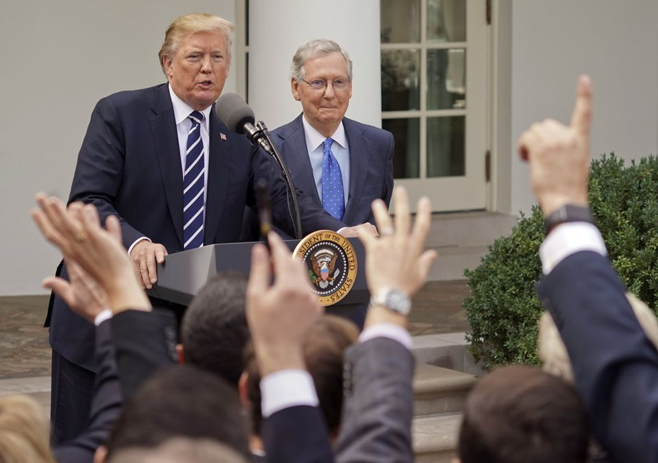 President Trump answered questions with Senate Majority Leader Mitch McConnell on Monday.