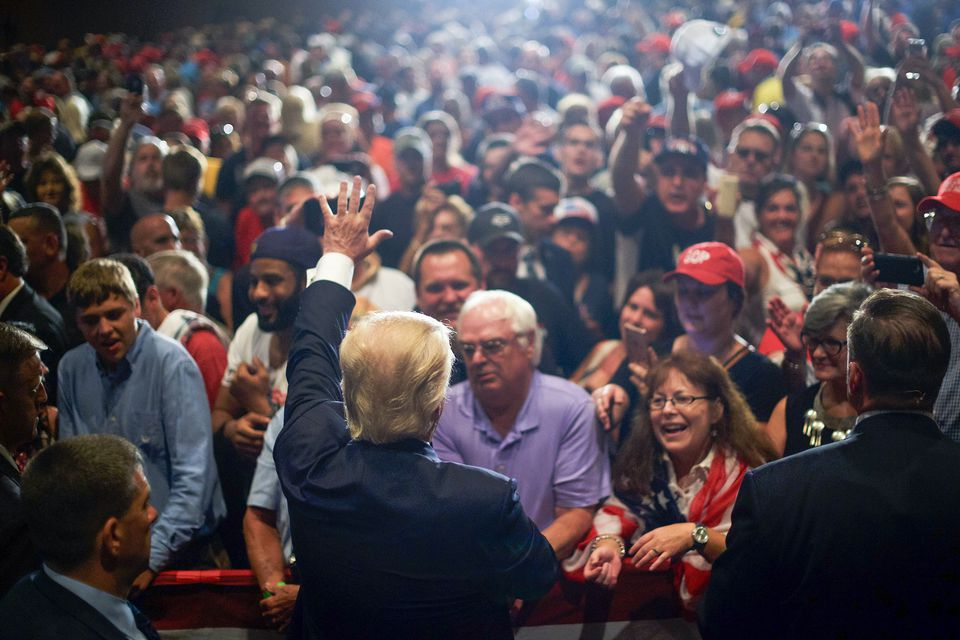 Donald Trump, the Republican presidential candidate, waved to supporters after a rally Friday in Altoona, Pa.