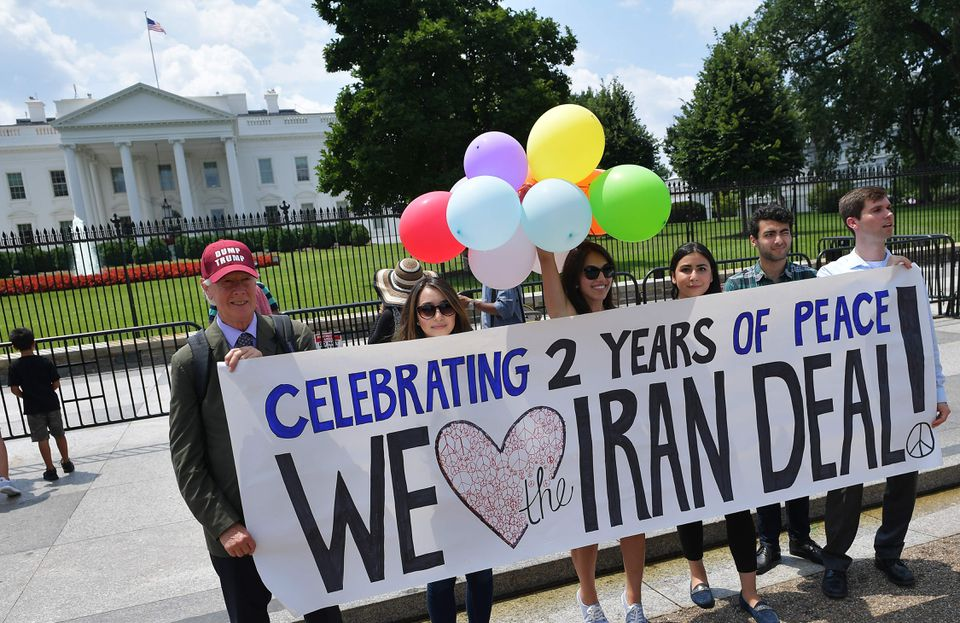 Activists took part in a rally in front of the White House to commemorate the nuclear deal with Iran on July 14.