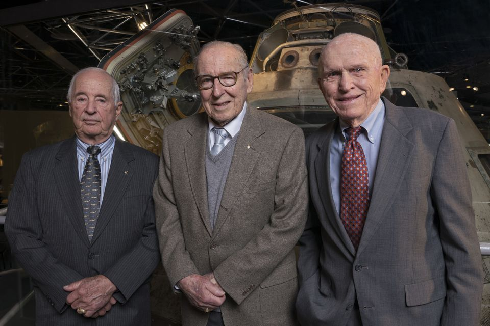 The Apollo 8 crew reunited earlier this year at the Museum of Science and Industry in Chicago. From left: Anders, Lovell, and Borman.