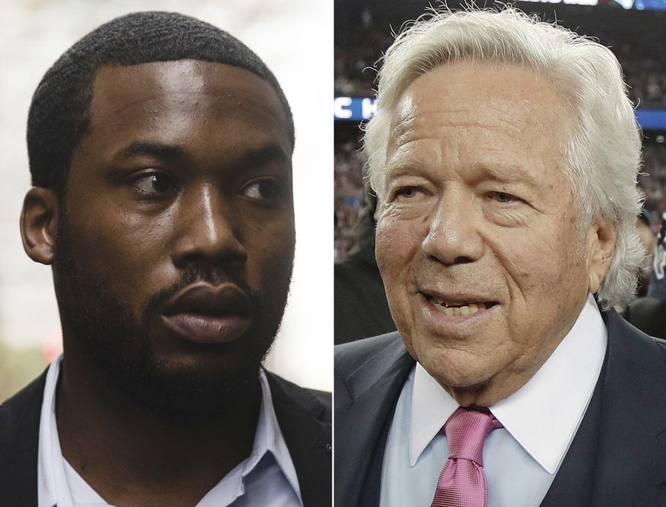 Rapper Meek Mill and his friend and supporter New England Patriots owner Robert Kraft.