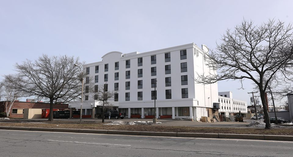 The former Days Hotel, at 1234 Soldiers Field Road, is being converted into Studio Allston.