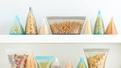 Zip Top Silicone Food Storage Bags stand up, stay open, and then zip shut.
