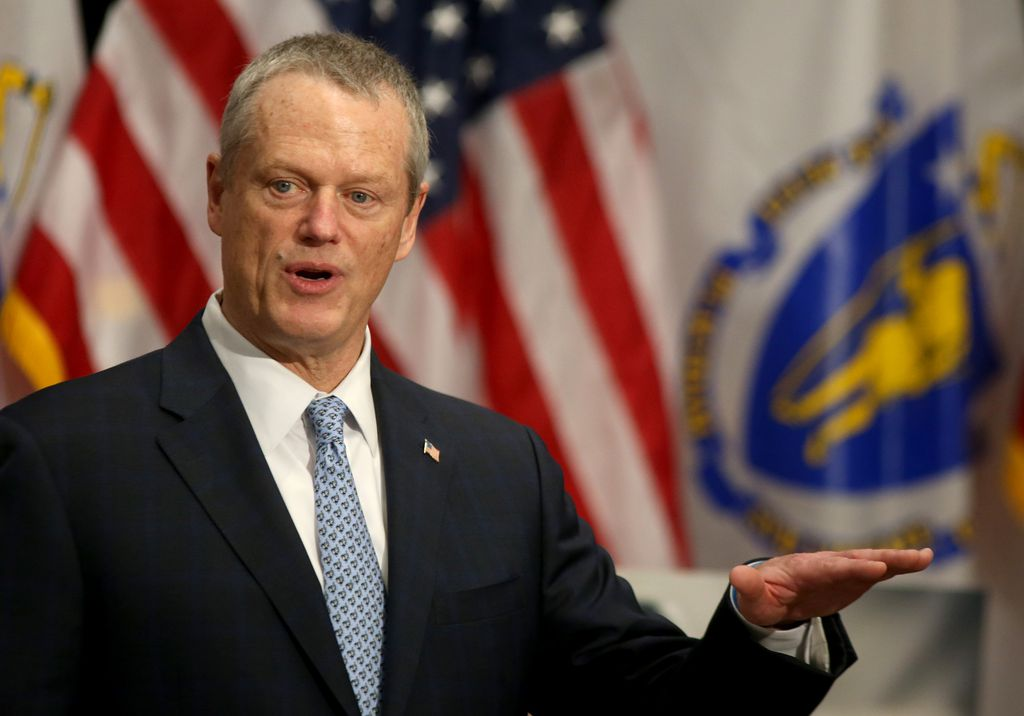 Gov Charlie Baker spoke during a media availability at the State House to discuss updates relating to COVID-19 on Monday in Boston, MA.Nancy Lane