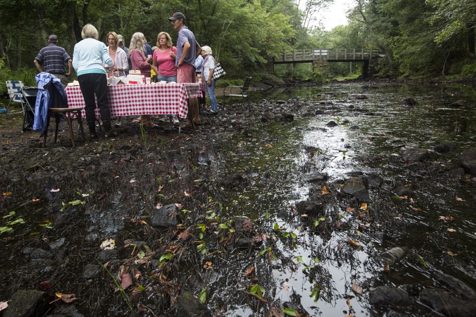 Members of the Ipswich River Watershed Association held a breakfast event in the middle of the river in September to attempt to highlight the effects of the drought.