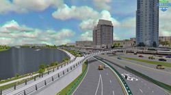 The Baker administration has decided to rebuild the Massachusetts Turnpike and Soldiers Field Road at ground level through Allston. This rendering shows Soldiers Field Road looking east as planned in the project.