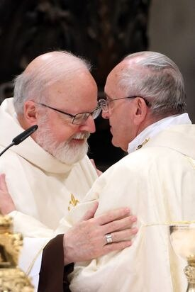 Pope Francis greets Cardinal Sean Patrick O'Malley during a Eucharist celebration at St. Peter's Basilica, the Vatican, Dec. 12, 2014.