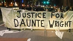 Demonstrators marched down Massachusetts Avenue demanding justice for Daunte Wright.