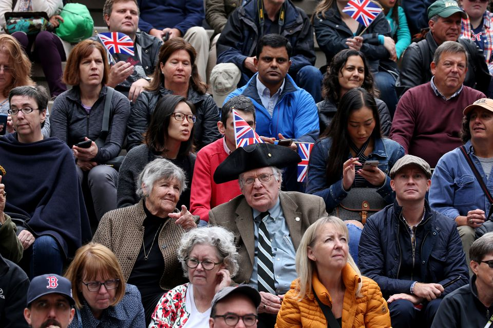 Spectators listened to the British Commanding Officer British at Downtown Crossing