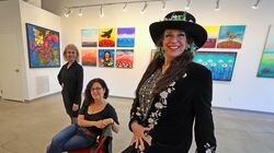 "(Left to Right) Artist Carol Scavotto, curator Sheryl J. Kopel and artist Juditta Musette in the gallery. There's a new pop-up gallery in downtown Providence called ""Reflection Delight,"" where two artists are displaying feminine pieces in a free gallery open every weekend. The art, and atmosphere, is supposed to represent the ""light"" of spring after a dark COVID-19 pandemic winter, and year."